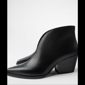 Zara heeled leather v shaped vamp cowboy boots